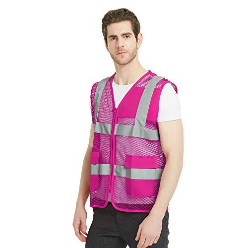 Gogo Chaleco de malla voluntario con cremallera y Chaleco de Seguridad Delantero Unisexo con Tiras Reflectantes y Bolsillos Hot Pink US 3XL