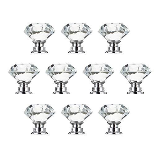 NewIncorrupt 10 Stück 30mm diamantbeschichtete Form Kristallglas Knopf Schrank Schublade Zuggriff Neues Küchentür Knopf Zubehör