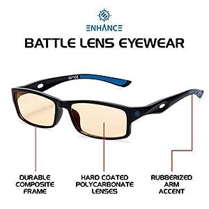 ENHANCE Battle Lens Blue Light Blocking Glasses – Work from Home Computer Screen Glasses – Reduces Eye Strain, Blue…
