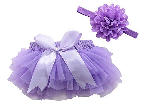 DEMU baby meisjes slips ruches broekje bloomers prinses tule rok luier broek met hoofdband 12-24 Maanden paars