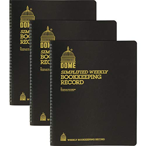 Dome DOM600 Bookkeeping Record Book Weekly 128 Pages 9 x11 Inches, Brown / 3 Pack