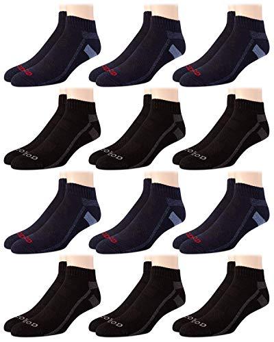 IZOD Calcetines para hombre – Performance acolchado por encima del tobillo Athletic Quarter Mini-Crew (12 unidades), talla de zapatos de 6 – 12.5, azul/negro