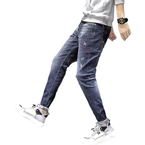 Pantalones Vaqueros para Hombre Four Seasons New Trend Slim-fit Pantalones de Mezclilla Harlan Monos Retro Jeans Casuales XXL