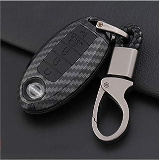 bd50eb4c8535 ontto Nissan 5 Buttons Carbon Fiber Smart Remote Key Fob Cover Case Car Key  Holder Key