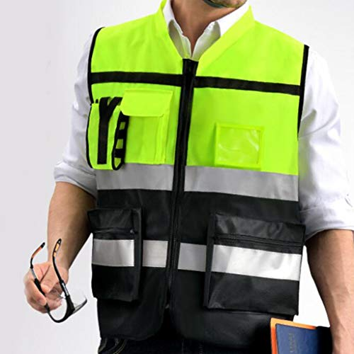 Chaleco de seguridad de múltiples bolsillos, chaleco transpirable de alta visibilidad, seguridad de las compañías de trabajo Hola chaleco, con chalecos de trabajo de reflectación, para correr caminand