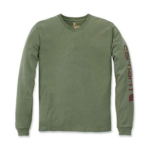 Carhartt Longsleeve Logo Langarm Shirt 100% BW EK231, Farbe:Oliv, Größe:L