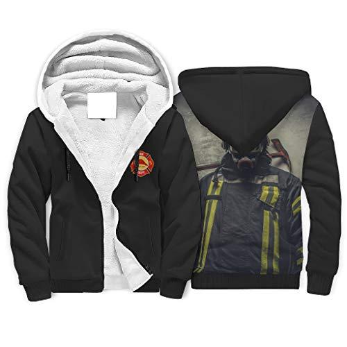 Twelve constellations Sudadera con capucha con diseño de bombero para adulto, de forro polar, color blanco, talla 2XL