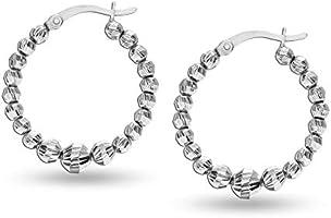 HIKARO Sterling Silver Jewelry Light-Weight Hollow Bead Hoop Earrings for Teen Women