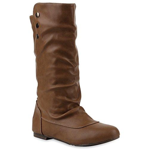 Bequeme Flache Damen Stiefel Hochschaft Stiefeletten Schuhe 110694 Hellbraun 36 Flandell