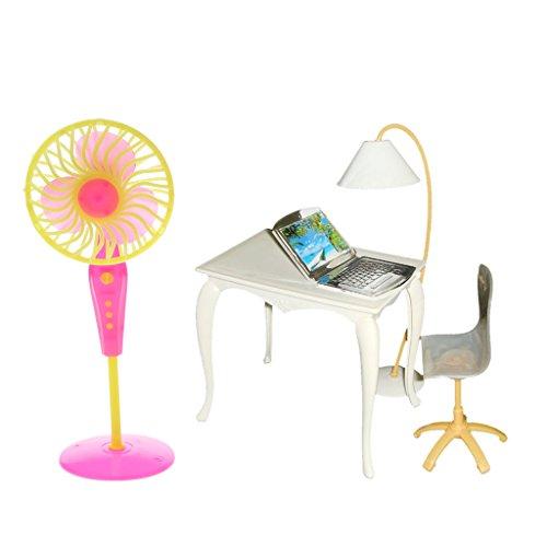 D DOLITY Puppenstuben Miniatur Büro Tisch Stuhl Computer Lampe und Bodenventilator Möbel Set Für Puppe Haus Dekoration ( 5pcs/Set )