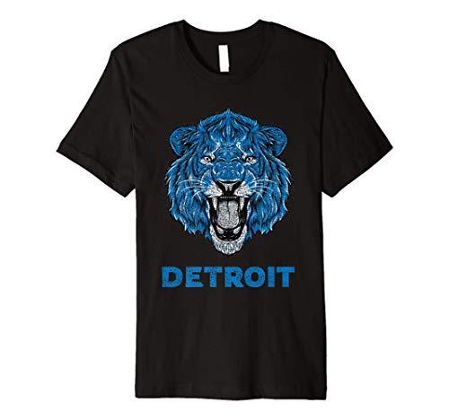 Funny Vintage Lion Face Head Detroit Gifts Premium T-Shirt