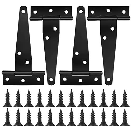4 Piezas Negro Bisagras en T de Puerta con Tornillos, 4 Pulgadas Resistentes Bisagras en forma de T, Bisagras de Correa en T para Ventanas Cobertizo Granero Puertas de Madera