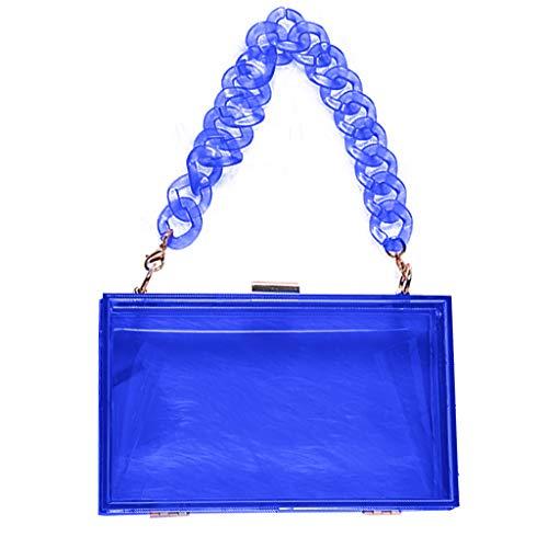 PHILSP Bolso de Hombro Mujer Caja de acrílico Transparente Embrague Bolso Bandolera Monedero, con Correa Desmontable Azul