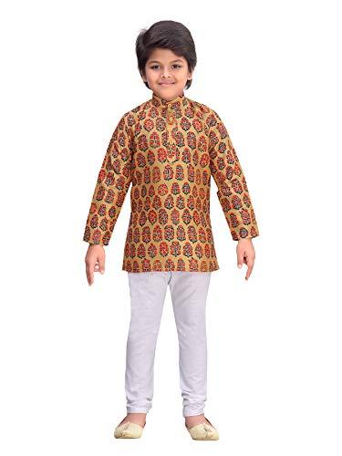 AJ DEZINES Kurta Pyjama-Set für Jungen (1221_Orange_1) Gr. 98, Orange