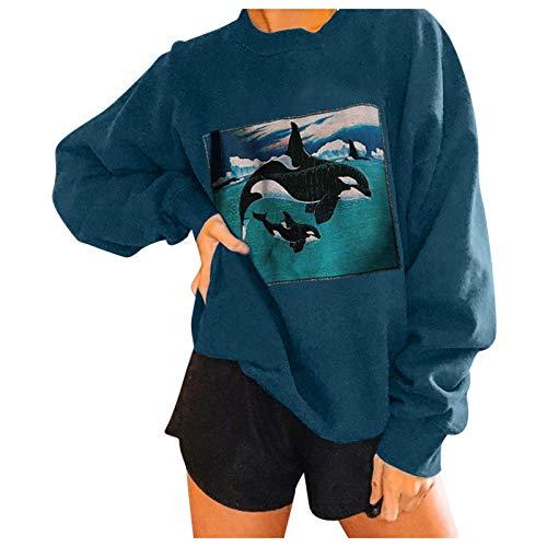 WAo Sudadera con estampado de ballenas oceánicas para mujer, casual, suelta, de manga larga, blusa, azul, 3XL