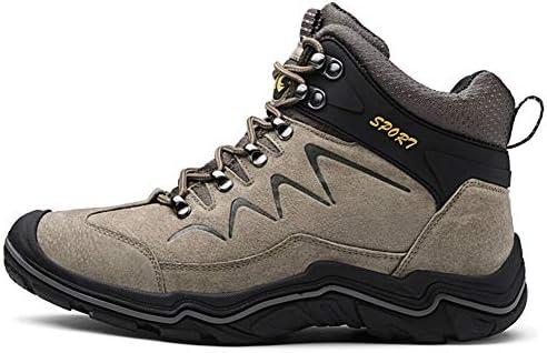 WOJIAO Zapatillas Altas para Hombre Calzado de Escalada de Invierno para Caminar Zapatos con Cordones Botines