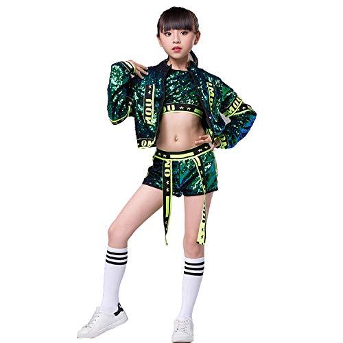 5 STÜCKE Mädchen Pailletten Jazz Dance Kostüm Hip Hop Glitter Tanzkleidung Set