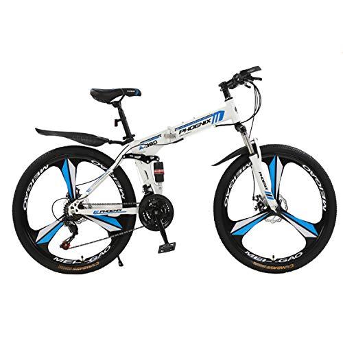 PYX Adult Off-Road Mountain Bike Double Shock-Absorbing 26/24 Inch Foldable Bike, 21-speed/24-speed/27-speed