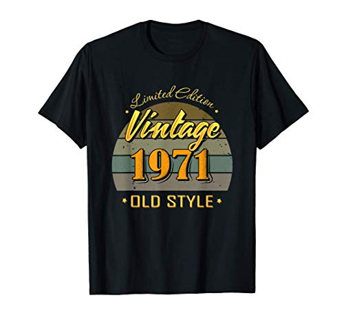 50 años de edad 50 cumpleaños decoraciones 1971 vintage Camiseta