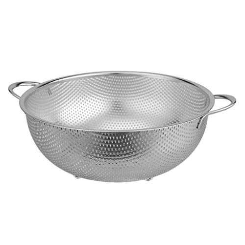 Drainer Basket Stainless Steel Micro-perforated Colander Professional Kitchen Strainer with Heavy Duty Handles Dishwasher Safe Colander/Food Strainers (Size : Diameter25.4cm)