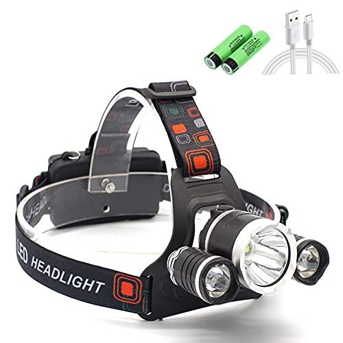 Linterna Frontal Led Recargable, 4 Modos de Luz con Flash, Luz Frontal de USB Rechable 1500 Lúmenes Impermeable IPX4 Puede girarse 90 °, Perfecto para Acampar, Bicicleta de Montaña, Pesca, Caminar