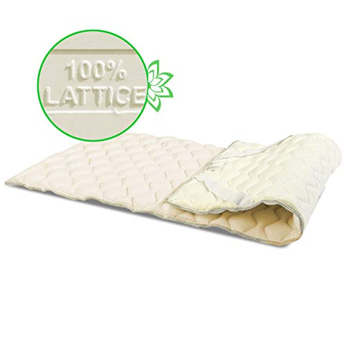 GEEMMA s.r.l. Topper correggi Materasso 100% Lattice al miglior Prezzo Alto 4CM con Tessuto Super Traspirante - SH3 Lattice al miglior Prezzo Singolo 90x195