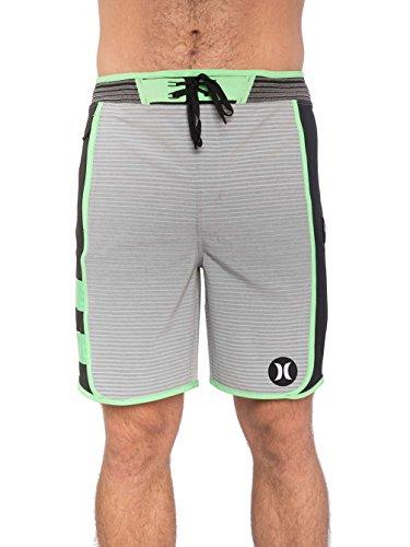 Hurley Phantom Hyperweave Motion Stripe - Pantaloncini tecnici, colore: Verde elettro lavato, Grigio lupo, 34