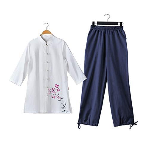 KSUA Traje de Artes Marciales de algodón de Tai Chi para Mujeres Ropa de Kung Fu Chino Ropa de Wing Chun con Mangas Tres Cuartos, Flor Púrpura + Azul Pantalones EU L/Etiqueta XL
