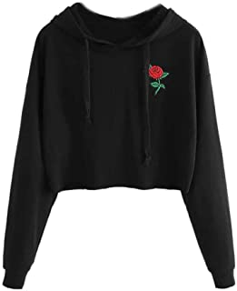 Cathalem Women Hoodie Sweatshirt Hooded Pullover Tops Cotton Embroidery Rose Print Drawstring Blouse