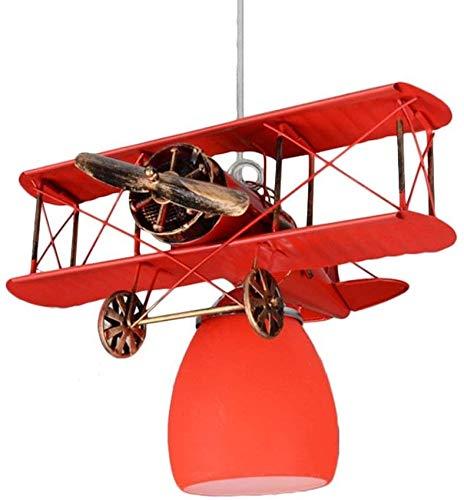 Love Aquatics Suspension des Avions Vintage biplan Enfants Enfants - Mini-lustres, garçons réglable en Hauteur Plafond E27 et Les Filles Chambre Art Déco Plafond,Red