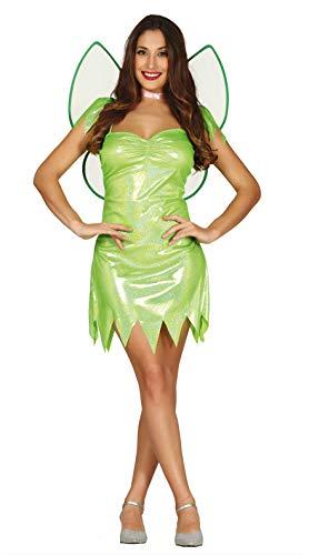 sexy grüne Fee Kostüm für Damen Karneval Fasching Märchen grün Flügel Gr. S-L, Größe:L