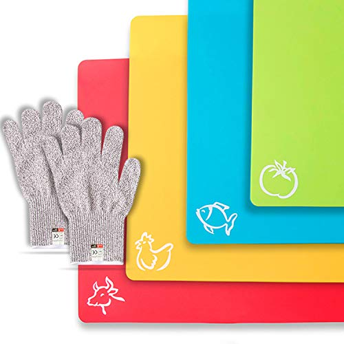 CHEF GRIDS Durable Flexible Plastic Cutting Board Mats with Food Icons Grip Waffle Back, Set of 4, Plus Pair of Medium Safety Gloves