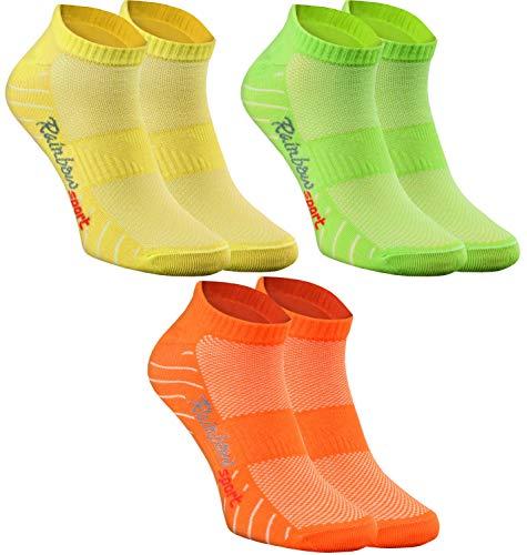 Rainbow Socks - Donna Uomo Calze Sportivi di Cotone - 3 Paia - Arancione Verde Giallo - Taglia 39-41