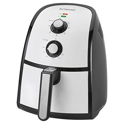 Bomann FR 2301 H CB Heißluft-Fritteuse 2,2 L Fassungsvermögen, stufenlos regelbarer Thermostat, Timer, 1500 W, schwarz/weiß