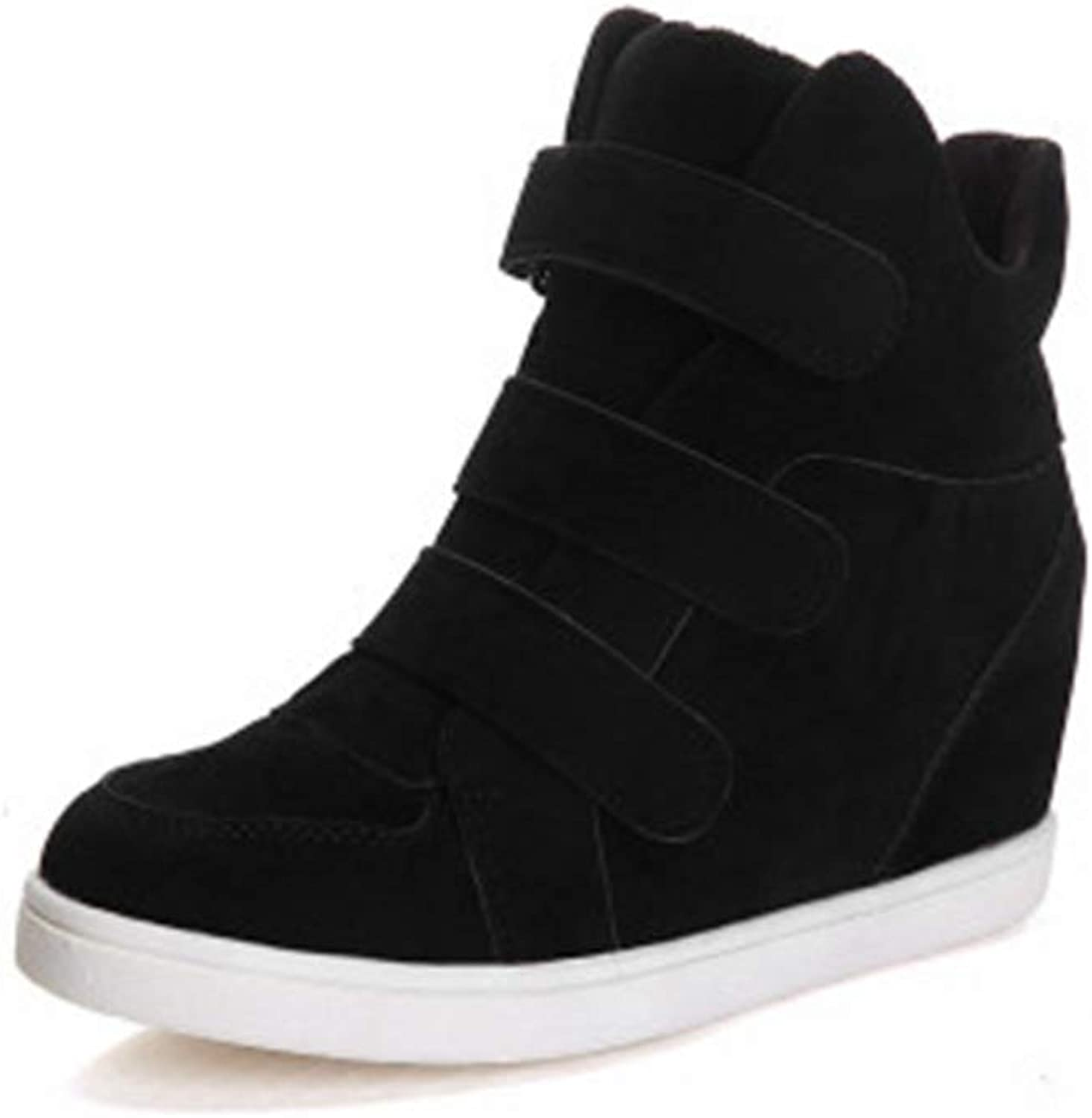 Woman Wedge Mid Heel Ankle Boots Round Toe Hook & Loop Plush Warm Winter Fashion Casual Outdoor Sneaker