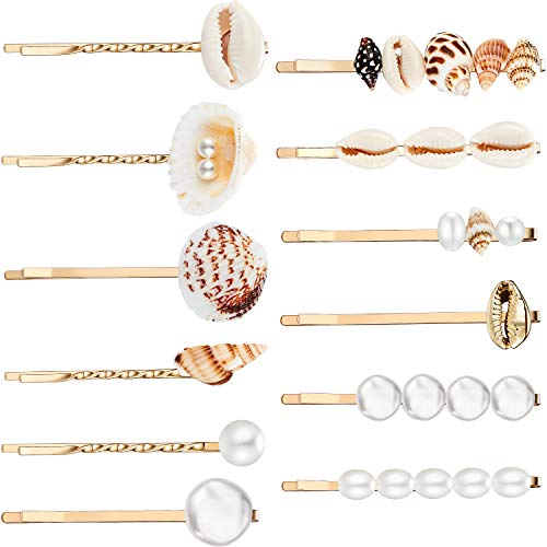 12 Pieces Faux Pearl Hair Clip Shell Barrettes Conch Pearl Hairpins Side Bangs beach seashell Hair Barrettes bobby pin for Women and Girls