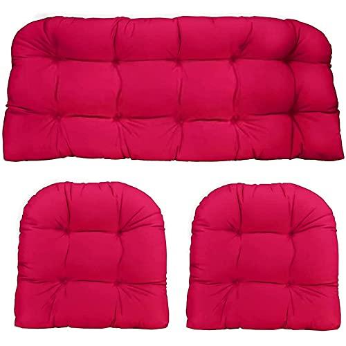 3 cojines de banco al aire libre, cojines de silla para muebles de interior y exterior, cojín antideslizante para muebles de jardín, color rojo
