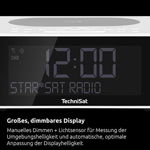 TechniSat DIGITRADIO 52 - Stereo DAB Radiowecker (Uhrenradio, Wecker, DAB+, UKW, Snooze-Funktion, Sleeptimer, dimmbares Display, Wireless-Charging Funktion, Stereo Lautsprecher 2 x 1 W) weiß