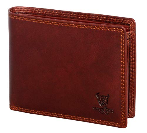 MATADOR Geldbörse Herren Leder Portemonnaie TüV geprüfter RFID & NFC Schutz Vintage Braun