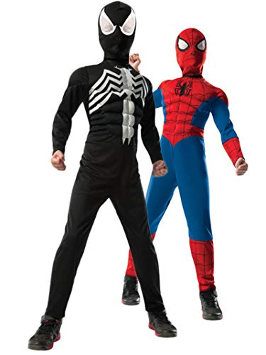 Rubie's Marvel Ultimate Spider-Man 2-in-1 Reversible Spider-Man/Venom Muscle Chest Costume, Child Small - Small One Co