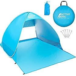 UV Sun Protection: The beach tent is lined with a UPF 50+ UV protective material to provide you and your family with much needed protection from the sun's strong UV rays Fast Set Up & Pack Away: Forget confusing tent instructions and fiddly poles, ou...