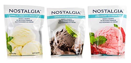 Nostalgia Ice Cream Mix. Set of 3 - Vanilla, Chocolate and Strawberry. Each Pocket of 8 Oz Makes 2 Quarts of Delicious Premium Old Fashioned Ice Cream!