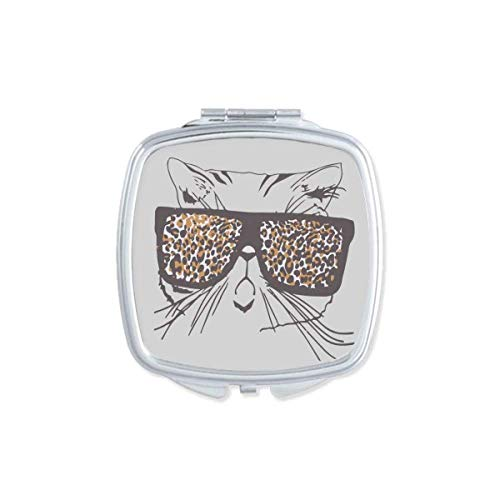 Leopard Print Sunglass Cat Head Animal Mirror Portable Compact Pocket Makeup Double Sided Glass