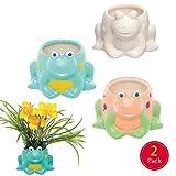 Baker Ross Frosch individualisierbare Keramik Blumentöpfe (2 Stück) Kreative Künstler- und Bastelbedarf für Kinder zum Basteln, Personalisieren und Schmücken