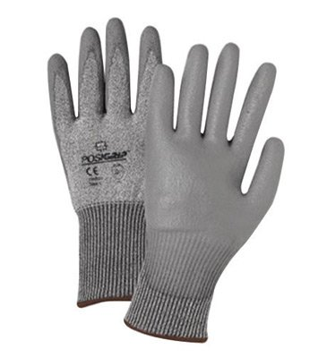 West Chester 730TGU/XXL 2X Gray PosiGrip Seamless Knit 13 ga Light Weight Cut Resistant Gloves With Elastic Cuff, Taeki 5 Lined And Polyurethane Coating (1/PR)