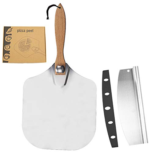 HIAO Pizza Peel Tools Set, Pizza Cutter and Paddle,Pizza Peel Set,Aluminum Pie Paddle with Foldable Wooden Handle and Rocker Cutter for Baking Homemade Pizza and Bread Pies & Cookies Cake …