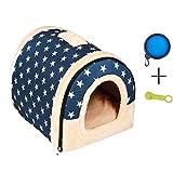 ENKO Hundebetten / Hundehütte / Katzenhöhle / Katzenhaus, Hohe Qualität Indoor Portable Faltbare Hund Zimmer Katzenhöhlen. (L, BLUE)