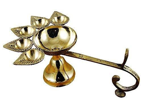 Sataanreaper Präsentiert Dhanteras Messing Puja Öl/Kampfer Brenner Lampe Panch Aarti - 5 Gesicht # Sr-166