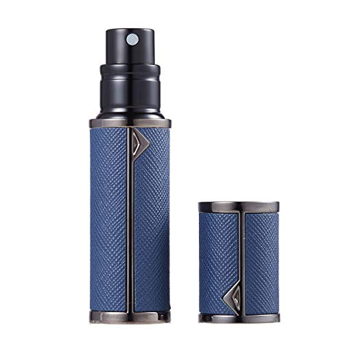 アトマイザー香水アトマイザー詰め替えLouischanzl香水噴霧器2-2.5mm径5mlPUレザーレディースメンズ(紺色02DPBlue-BK)