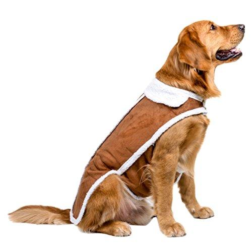 Jitong Hundemantel Winterjacke Kleidung für Welpen Katze Warme Kunstleder Kleider Fleece Futter Gepolstert Weste (Braun, XL#26)